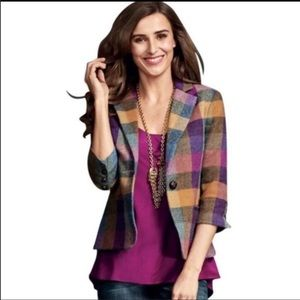 CABI Happy Blazer Colorful Plaid 3/4 Jacket Wool